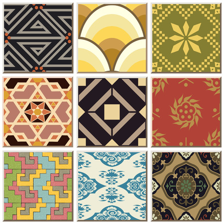 Vintage retro ceramic tile pattern set collection 047 Illustration