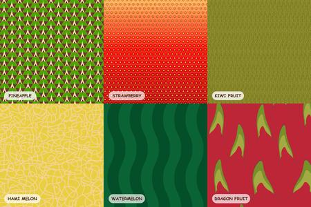 Colorful fruit skin, including pineapple, strawberry, kiwi fruit, hami melon, water melon, dragon fruit.