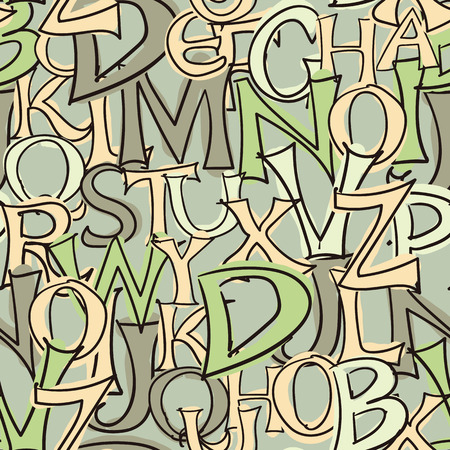 green tone: Seamless background image of hand drawn style letters - green tone