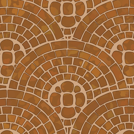 It is a texture of brown tile ground with mosaic pattern. Illustration