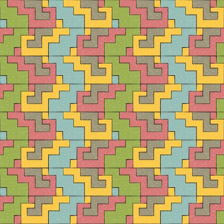assembling: Antique seamless background image of geometry blocks assembling pattern