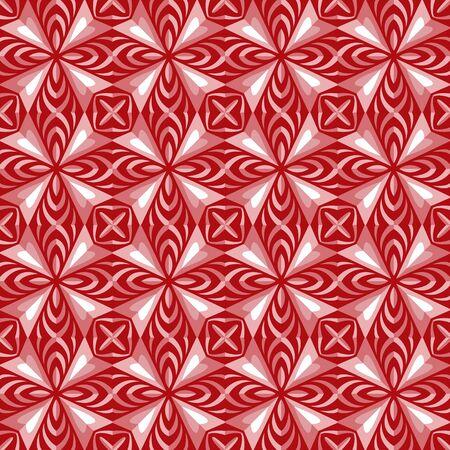 rhomb: Seamless background image of vintage red rhomb geometry kaleidoscope pattern. Illustration
