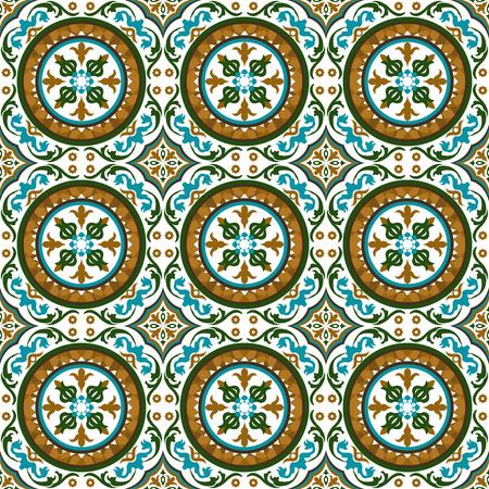 vine  plant: Seamless background image of vintage round spiral flower vine plant kaleidoscope pattern. Illustration
