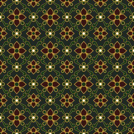 gold table cloth: Seamless background image of vintage dark green golden outline flower leaf pattern.