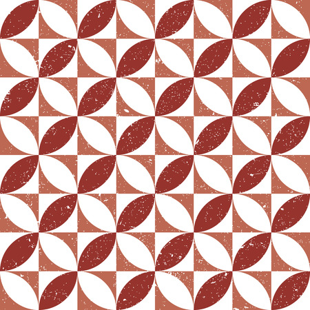 worn out: Seamless background image of vintage worn out red round square geometry pattern. Illustration