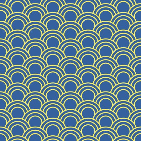 curve line: Seamless background image of oriental fish scale round curve line