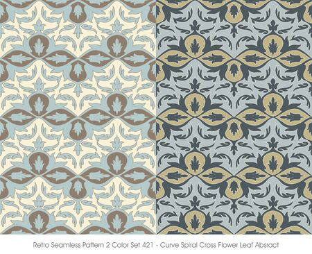 absract: Retro Seamless Pattern 2 Color Curve Spiral Cross Flower Leaf Absract Illustration