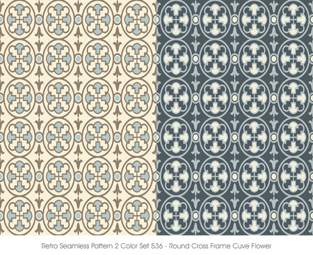 Retro Seamless Pattern 2 Color Set_536 Round Cross Frame Cuve Flower