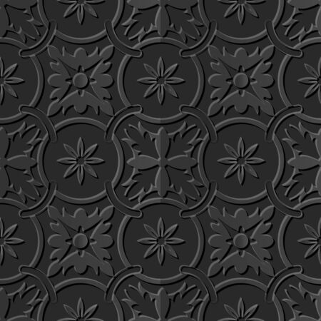 Seamless 3D elegant dark paper art pattern 105 Round Chain Flower Çizim