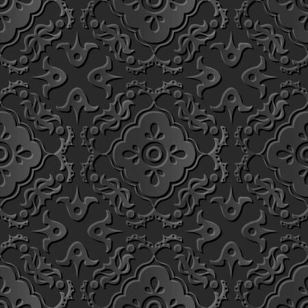 paper cut art: Seamless 3D dark paper cut art background 375 round flower kaleidoscope