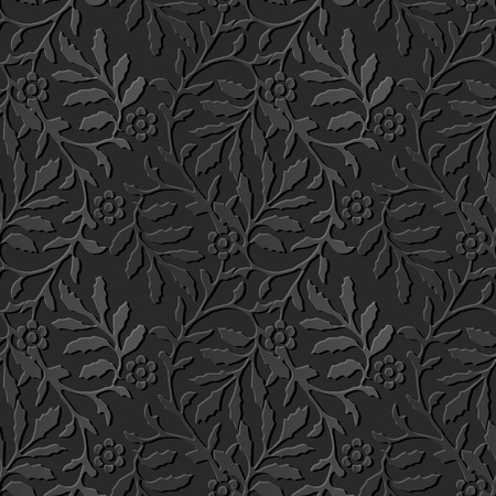 paper cut art: Seamless 3D dark paper cut art background 375 spairl wave leaf flower Illustration