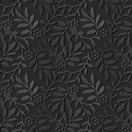 Seamless 3D dark paper cut art background 375 spairl wave leaf flower Illustration