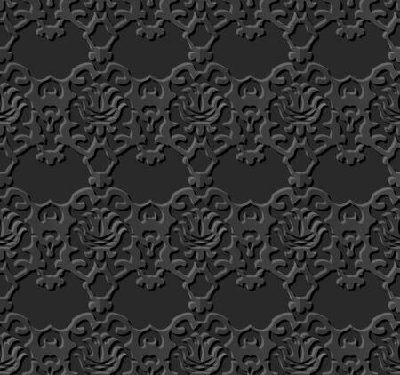paper cut art: Seamless 3D dark paper cut art background 376 vintage kaleidoscope