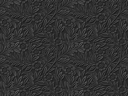 paper cut art: Seamless 3D dark paper cut art background 381 flower leaf plant Illustration