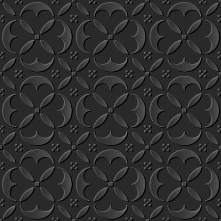 paper cut art: Seamless 3D dark paper cut art background 387 elegant round curve cross geometry Illustration