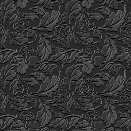 paper cut art: Seamless 3D dark paper cut art background 387 flower spiral cross leaf