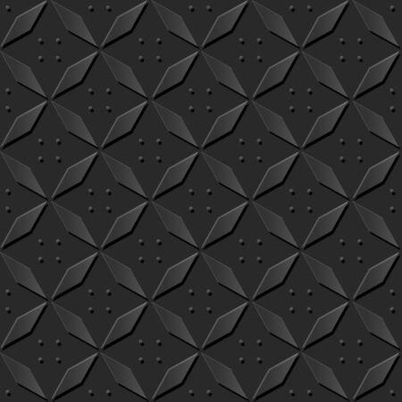 paper cut art: Seamless 3D dark paper cut art background 388 elegant rhomb geometry cross Illustration
