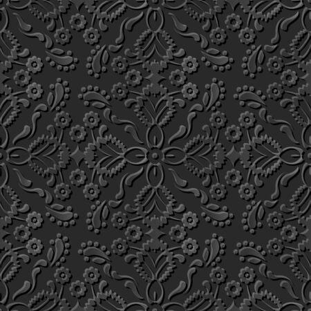 paper cut art: Seamless 3D dark paper cut art background 396 cross flower kaleidoscope Illustration
