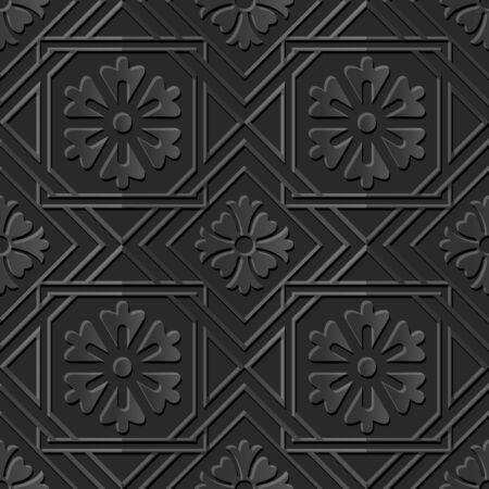 paper cut art: Seamless 3D dark paper cut art background 405 square check cross frame flower Illustration
