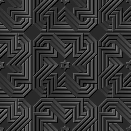paper cut art: Seamless 3D dark paper cut art background 408 spiral cross geometry chain frame