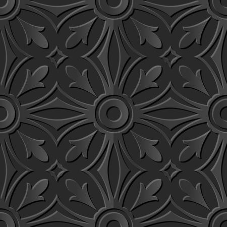 paper cut art: Seamless 3D dark paper cut art background 414 round cross curve kaleidoscope