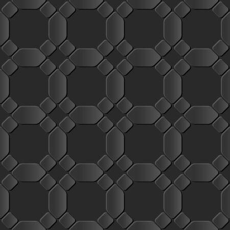 paper cut art: Seamless 3D dark paper cut art background 416 round corner octagon cross geometry Illustration
