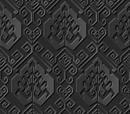 paper cut art: Seamless 3D dark paper cut art background 420 oriental spiral geometry line
