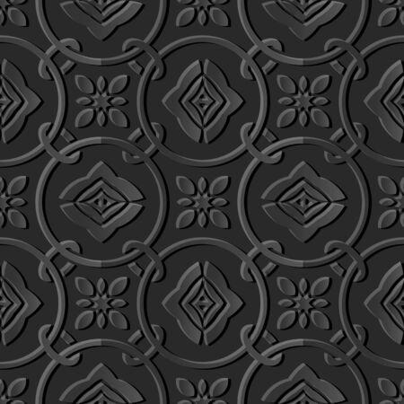 paper cut art: Seamless 3D dark paper cut art background 427 round circle cross chain flower