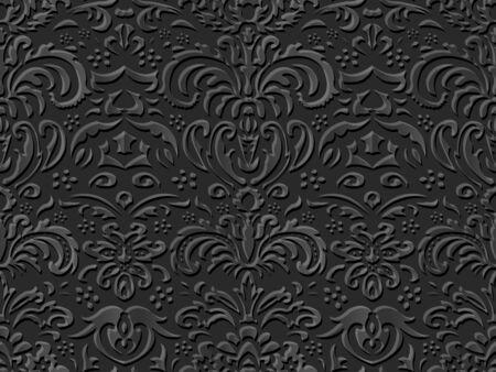 paper cut art: Seamless 3D dark paper cut art background 429 vintage nature leaf flower