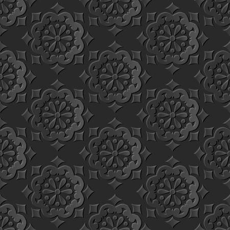 paper cut art: Seamless 3D dark paper cut art background 439 vintage round flower