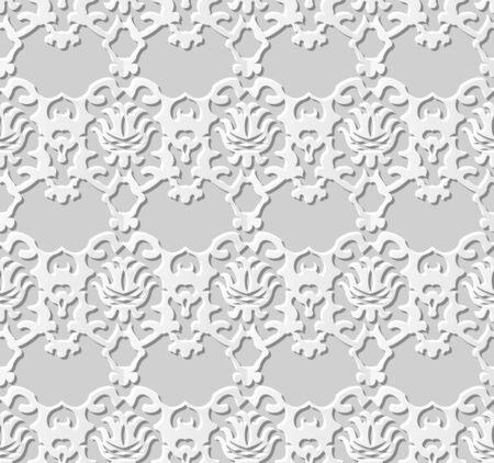 paper cut art: Seamless 3D white paper cut art background 376 vintage kaleidoscope
