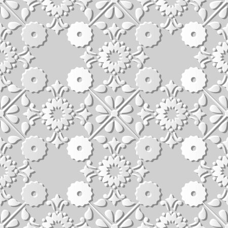 paper cut art: Seamless 3D white paper cut art background 379 cross round vintage flower