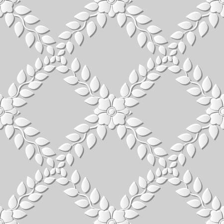 paper cut art: Seamless 3D white paper cut art background 380 cross leaf flower vine