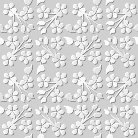 paper cut art: Seamless 3D white paper cut art background 381 cross clover leaf vine