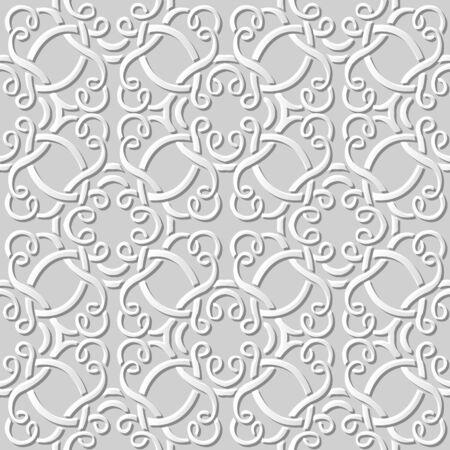 paper cut art: Seamless 3D white paper cut art background 391 curve spiral cross frame line