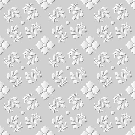 paper cut art: Seamless 3D white paper cut art background 394 vintage flower spiral leaf
