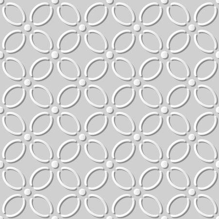 paper cut art: Seamless 3D white paper cut art background 398 curve cross line flower