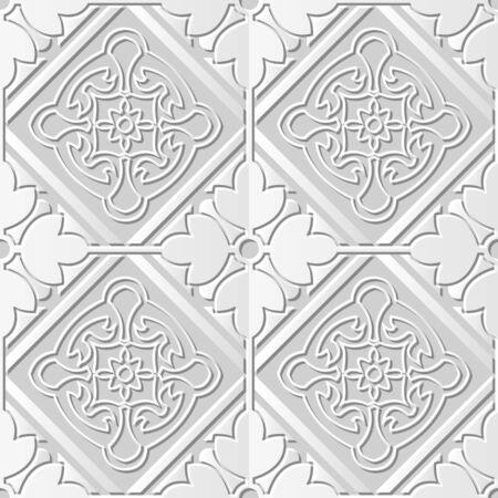 paper cut art: Seamless 3D white paper cut art background 403 square check cross round flower frame Illustration