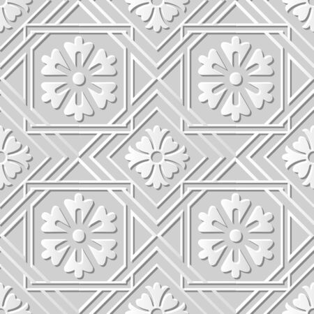 paper cut art: Seamless 3D white paper cut art background 405 square check cross frame flower