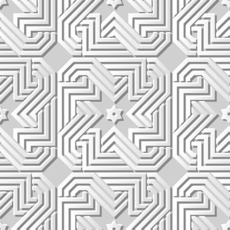 paper chain: Seamless 3D white paper cut art background 408 spiral cross geometry chain frame Illustration