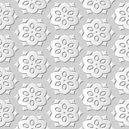 paper cut art: Seamless 3D white paper cut art background 431 vintage polygon flower cross