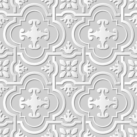 paper cut art: Seamless 3D white paper cut art background 435 vintage curve cross geometry frame flower