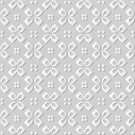 paper cut art: Seamless 3D white paper cut art background 436 vintage cross round check