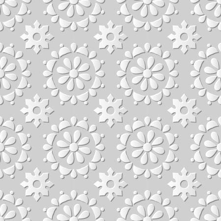 paper cut art: Seamless 3D white paper cut art background 440 round cross flower