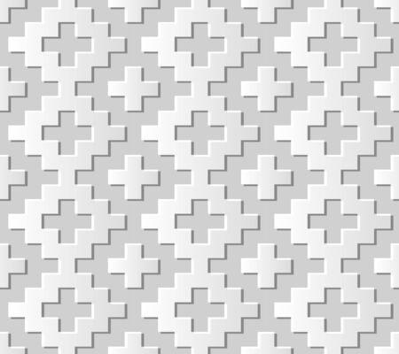 paper cut art: Seamless 3D white paper cut art background 445 square mosaic geometry check cross