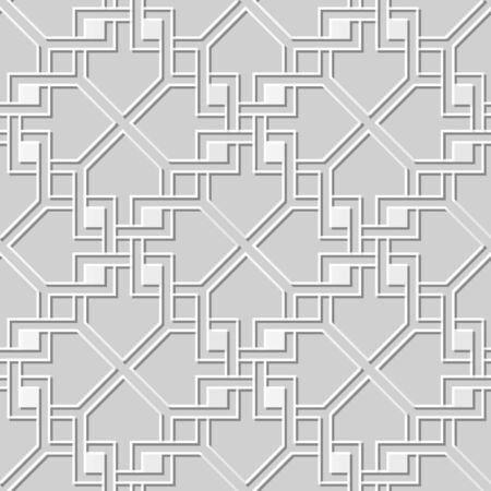 paper chain: Vector damask seamless 3D paper art pattern background 155 Square Cross Chain