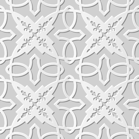 paper chain: Vector damask seamless 3D paper art pattern background 148 Cross Chain Kaleidoscope