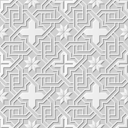 paper chain: Vector damask seamless 3D paper art pattern background 229 Cross Chain Flower Illustration