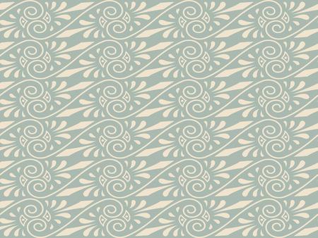 pattern antique: Antique seamless background 423 aboriginal brown golden spiral cross vine flower Illustration