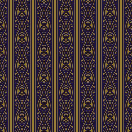 curve line: Antique seamless background 528 vintage golden spiral curve flower line Illustration